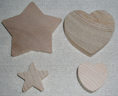 Some wood parts before it is drilled or colored