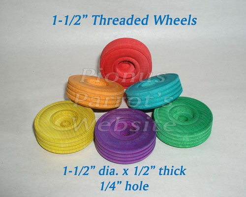 "1-1/4"" Colored Treaded Wood Wheels"