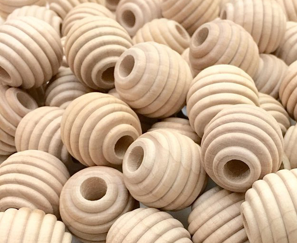 Wooden Beehive Beads - Natural 3 Sizes