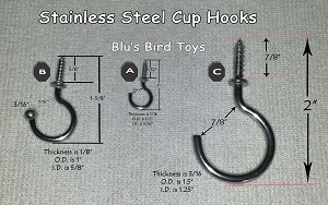 Cup Hooks in Stainless Steel
