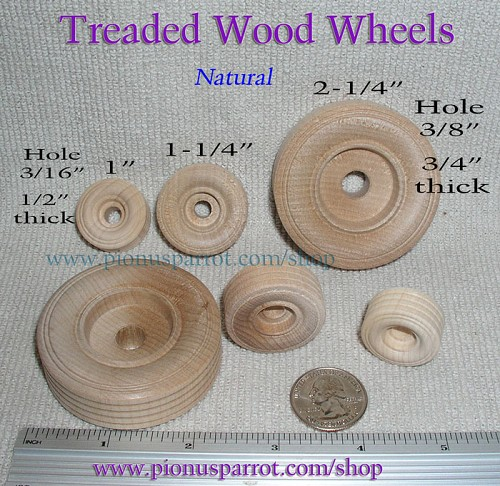 Treaded Natural Wood Wheels